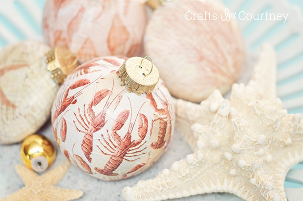 Coastal Mod Podge DIY Christmas Ornaments