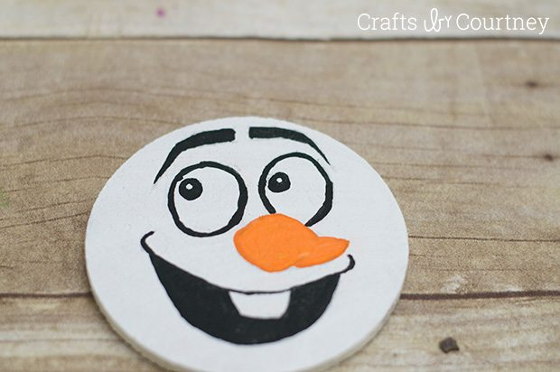 Frozen Craft: Olaf Christmas Ornament from a Coaster