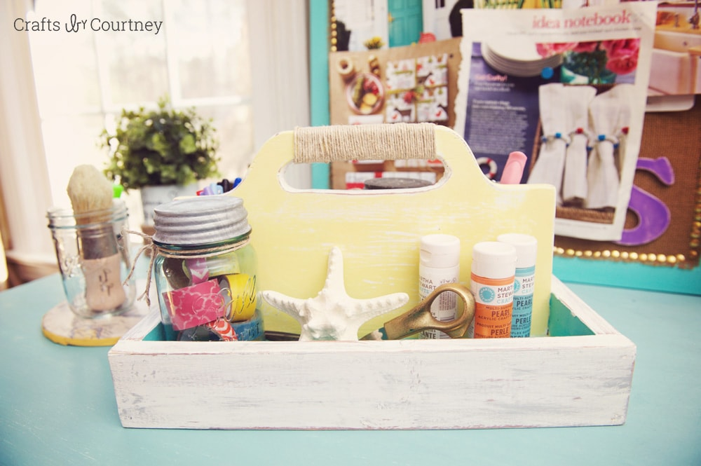 Coastal craft caddy makeover