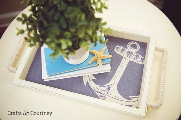Mod Podge Serving Tray: Beach Upcycle