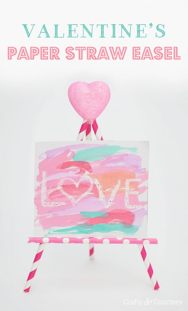 Kids Decorative Paper Straw Easels Craft for Valentine's