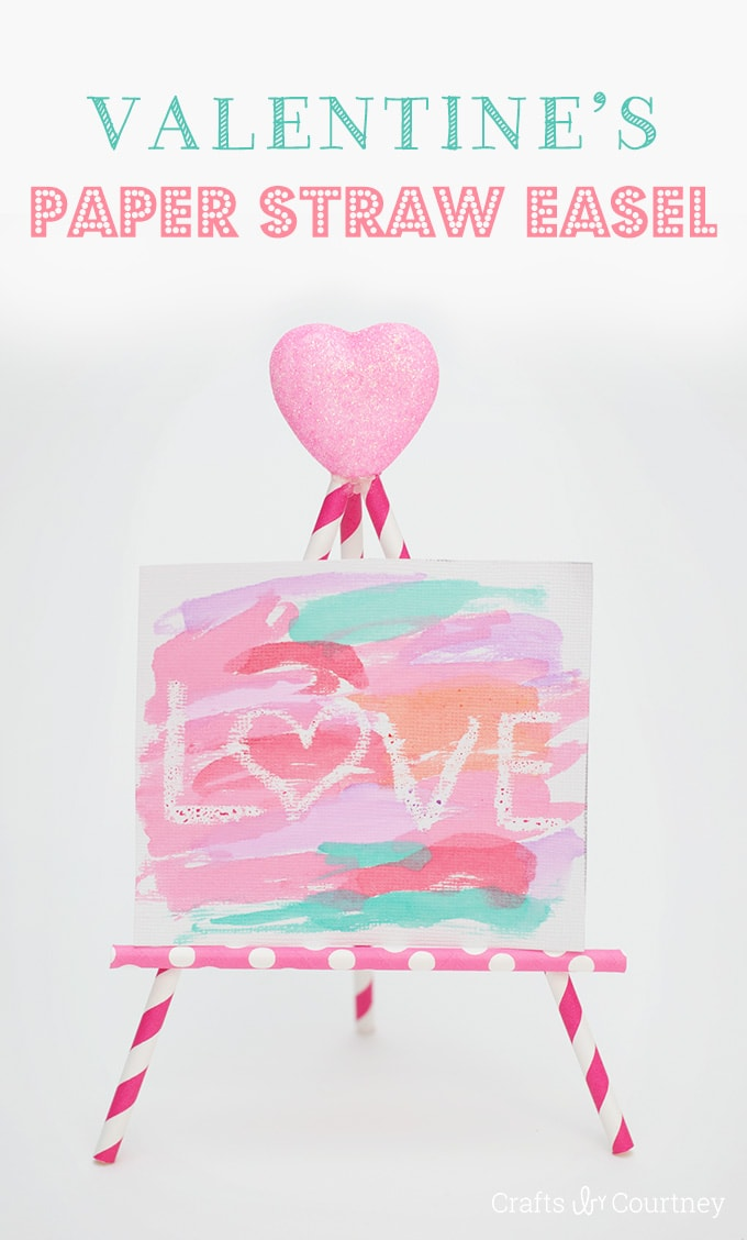 Valentine's Day paper straw easel and crayon resist art.