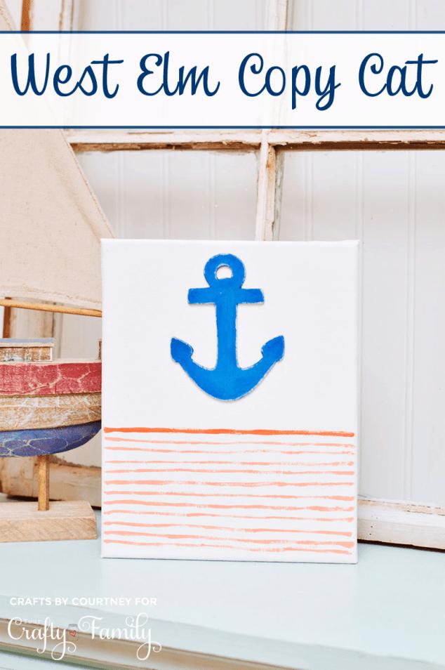 West Elm Knockoff:  Nautical Anchor Art