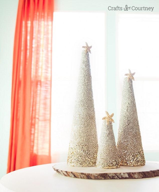 Christmas Craft: DIY Coastal Glitter Christmas Trees