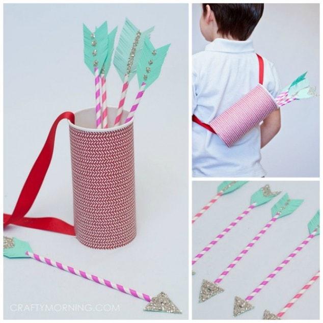 Paper Straw Cupid Arrows - Kids Valentine Craft