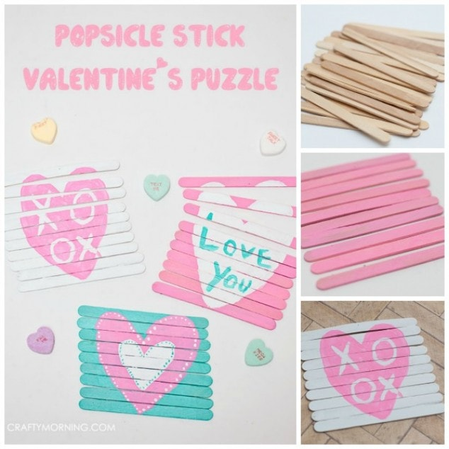 Valentine's Day Popsicle Stick Puzzles (Kids Craft)