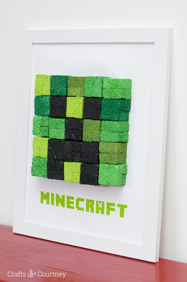 DIY Kids Wall Art - Minecraft Creeper