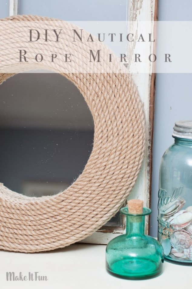 Since I have a more coastal style in my home I wanted to make a cool nautical mirror to match my decor. I did this simple mirror project with some rope and a foam wreath.