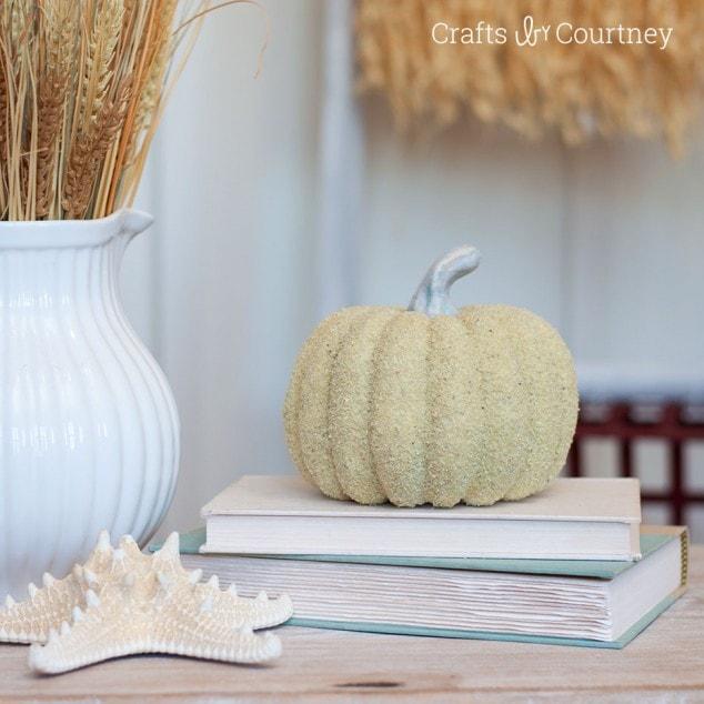 Sand Covered Coastal Pumpkin Craft