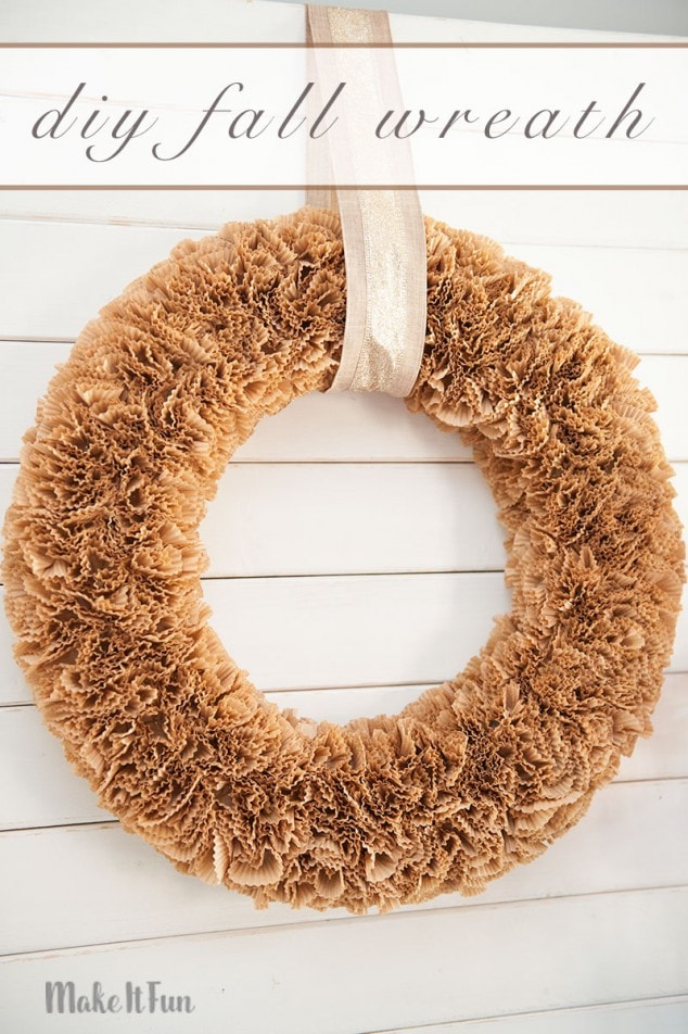Create a simple DIY wreath for Fall using only cupcake liners. They are so pretty and easy to use. I think this Fall wreath is perfect to keep up from September to November for your Fall decor!