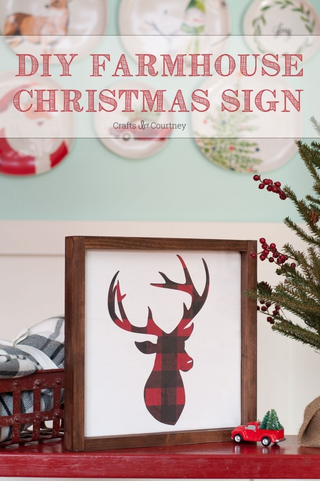 I created a DIY Christmas Farmhouse sign using Mod Podge and my Silhouette Cameo. Plaid is so popular right now for Christmas so I had to make something with it!