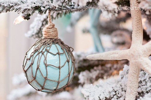 """Creating unique Coastal DIY Christmas ornaments for my tree is what I love. I love the feel of a Coastal Christmas. I also loved creating the """"Faux"""" Glass Floats, Christmas ornaments!"""