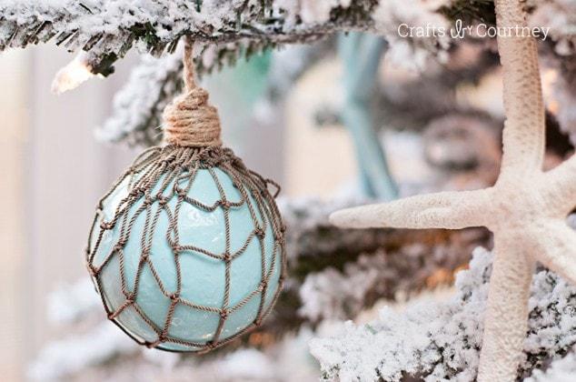 """Faux"" Glass Floats – Coastal DIY Christmas Ornament"
