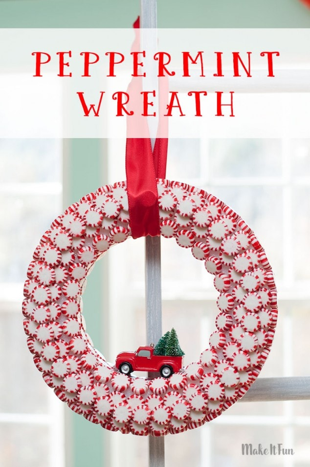 Holiday Wreath with Peppermints