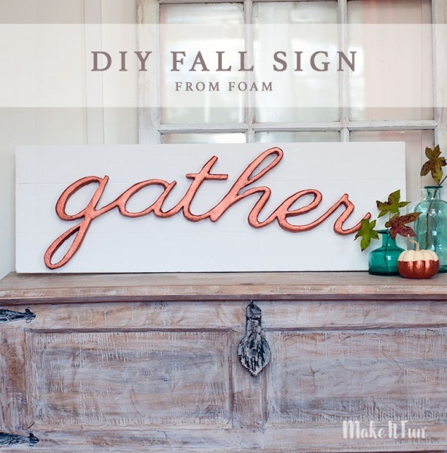 DIY Fall Sign Wall Art- Faux Wooden Sign