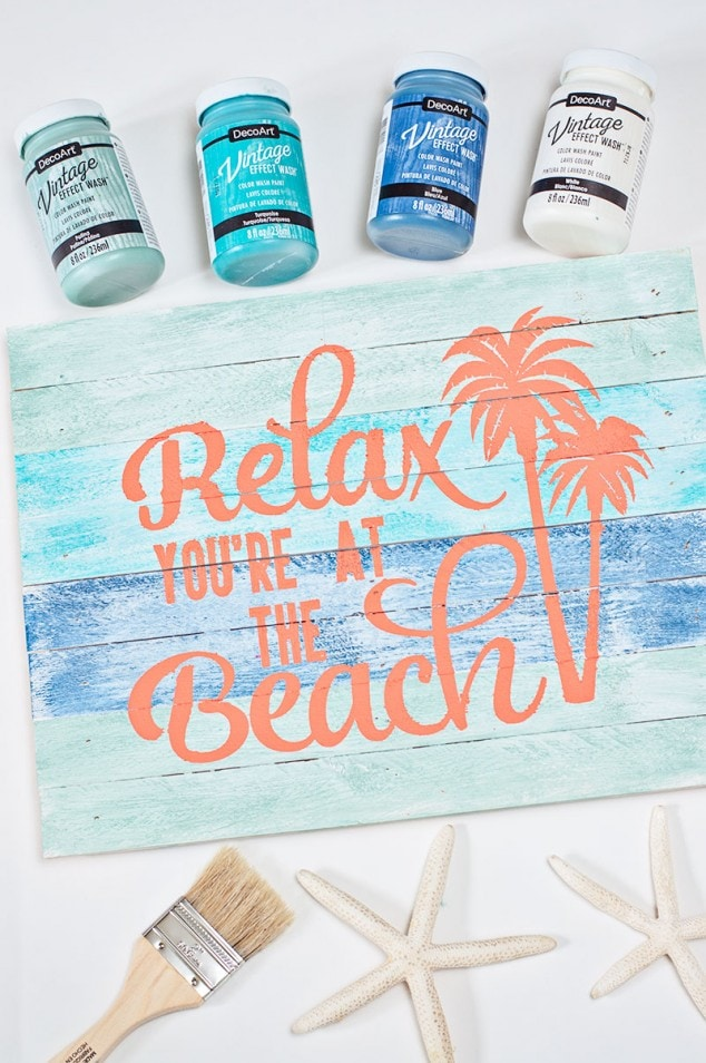 DIY Beach Sign with Vintage Effect Wash