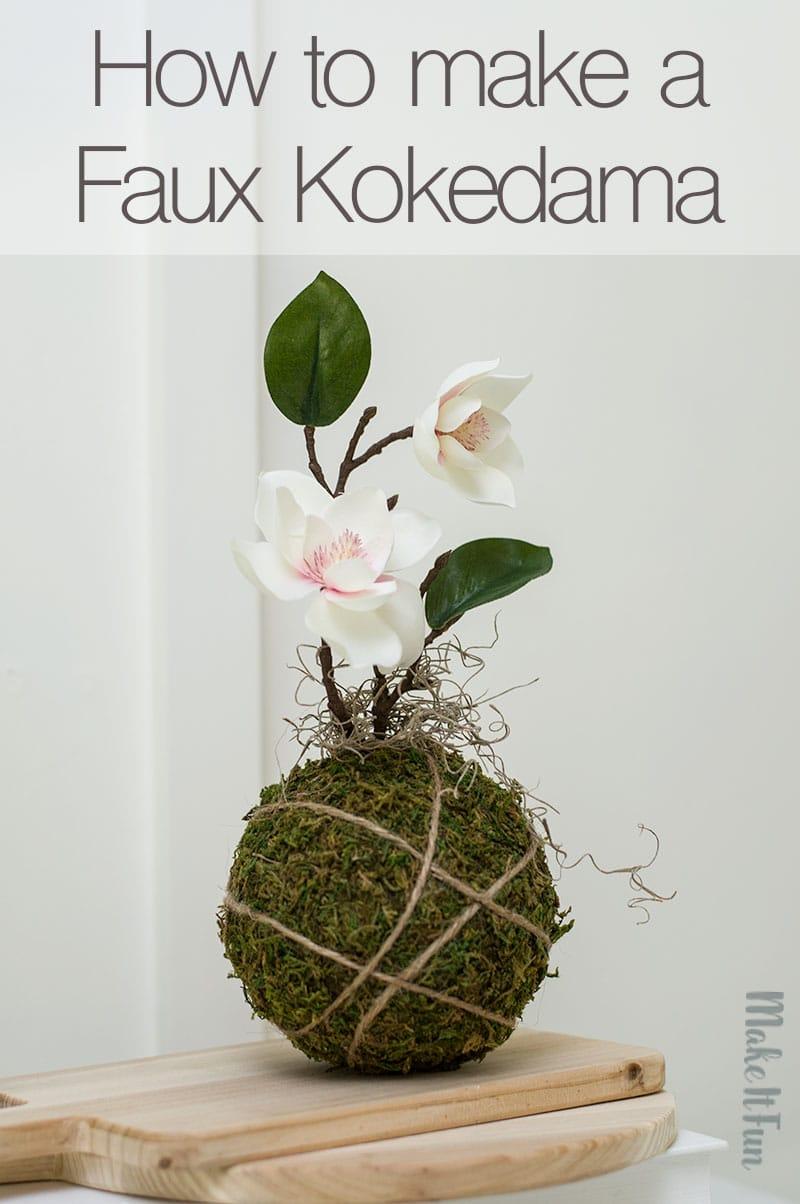 faux kokedama moss ball arrangement