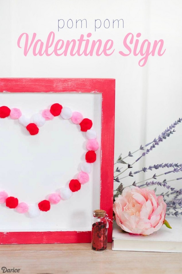 Easy Valentine Kids Craft with Pom Poms