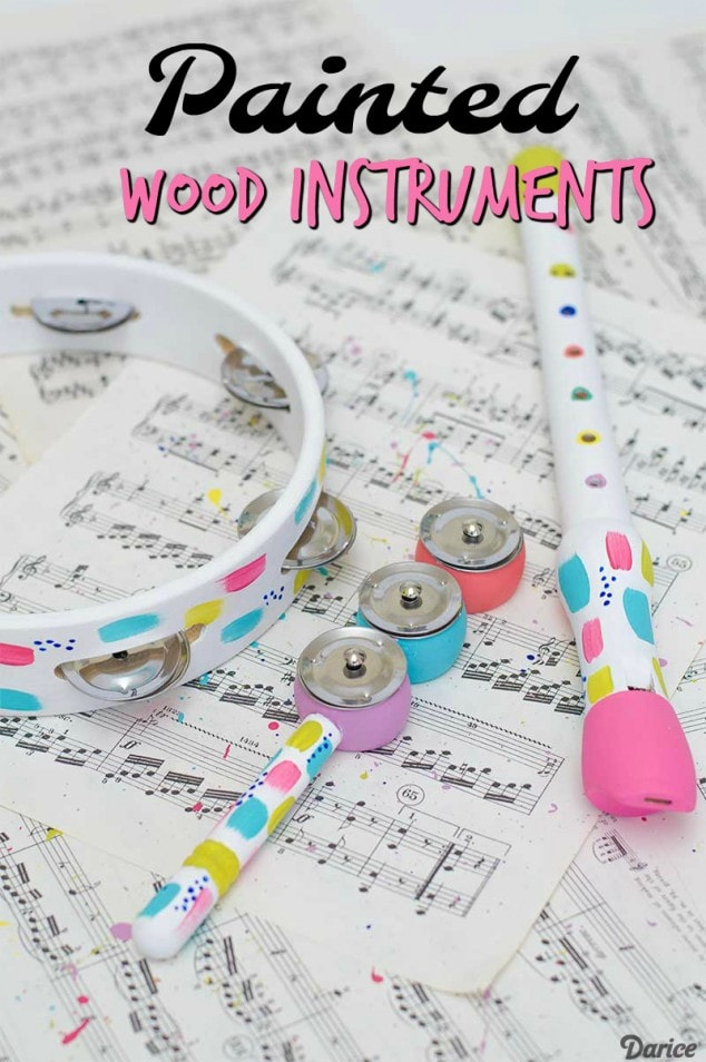 Colorful Painted Wood Instruments