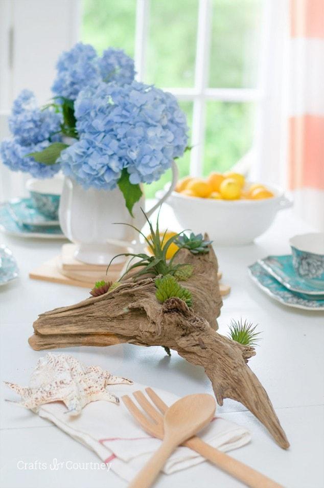 Coastal Table Setting – Driftwood Planter