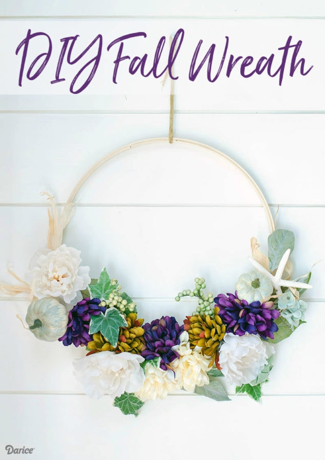 How To Embroidery Hoop Wreath Tutorial for Fall