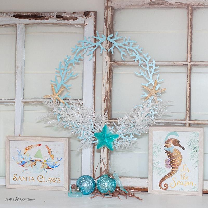 How to make a DIY Coastal Christmas Wreath