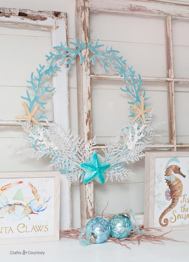 How to make a DIY Coastal Christmas Wreath