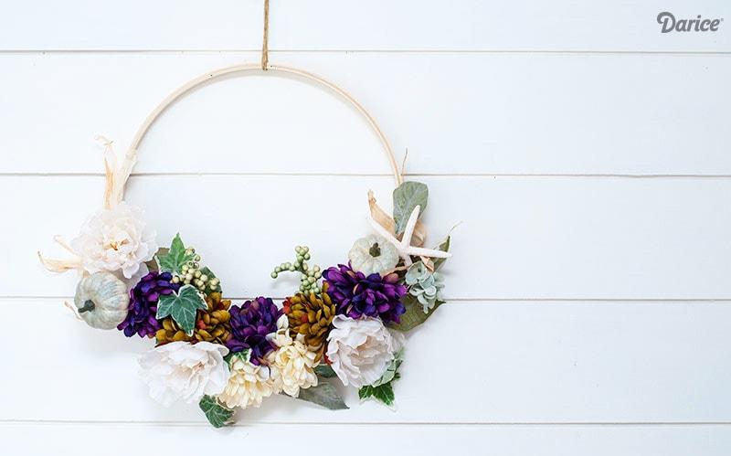 Easy Coastal Embroidery Hoop Wreath Tutorial for Fall