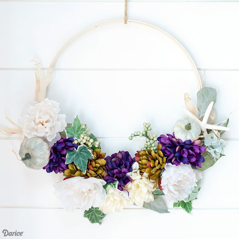 DIY Embroidery Hoop Wreath Tutorial for Fall