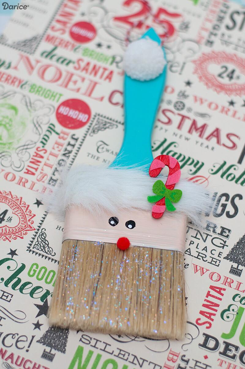 How to Make a Santa Paintbrush Ornament for Christmas Christmas kids craft